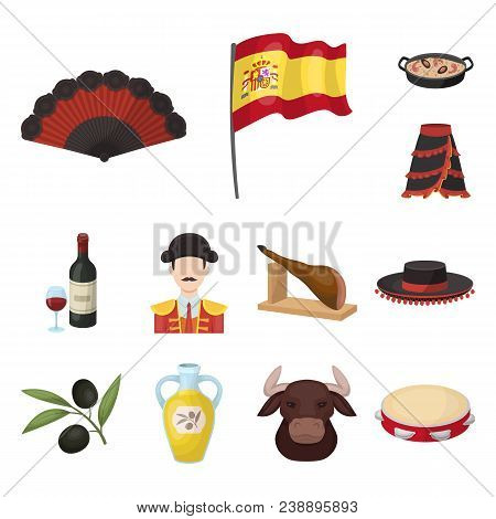 Spain Country Cartoon Icons In Set Collection For Design.travel And Attractions Vector Symbol Stock