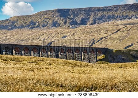 An Oblique View Of The Ribblehead Viaduct, A Well Known Landmark On The Settle-carlisle Railway In N