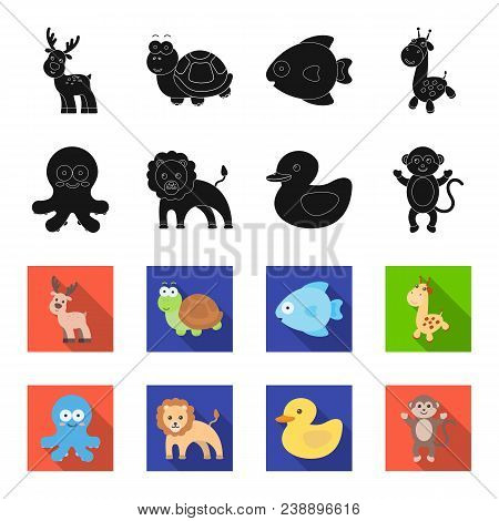 An Unrealistic Black, Flet Animal Icons In Set Collection For Design. Toy Animals Vector Symbol Stoc