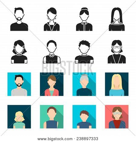 Red-haired Boy, Teen Girl, Grandmother Wearing Glasses.avatar Set Collection Icons In Black, Flet St
