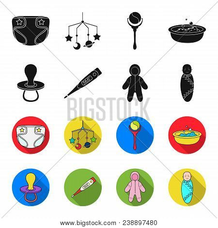 Pacifier, Electronic Thermometer, Children Overalls, Diaper.baby Born Set Collection Icons In Black,
