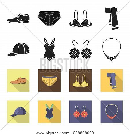 Cap, Earrings, Necklace, Swimsuit. Clothing Set Collection Icons In Black, Flet Style Vector Symbol