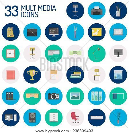 Multimedia Conceptual Icon | Set Of Great Flat Icons With Style Long Shadow Icon And Use For Multime