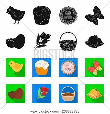 Chocolate Egg, Bells, Basket And Flowers.easter Set Collection Icons In Black, Flet Style Vector Sym
