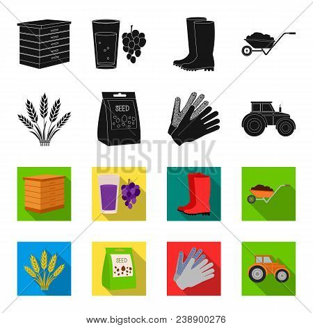 Spikelets Of Wheat, A Packet Of Seeds, A Tractor, Gloves.farm Set Collection Icons In Black, Flet St