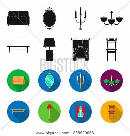A Coffee Table, A Lamp, Curtains, A Chair.furniture Set Collection Icons In Black, Flet Style Vector