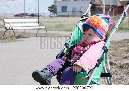 Little Girl Outdoor In Stroller, Walking With Baby In Buggy,  Baby Carriage Using For Child, Pram Ex