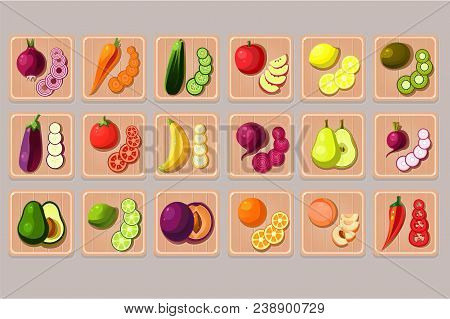Collection Of Fruits And Vegetables On Wooden Cutting Boards. Natural And Tasty Products. Cooking In