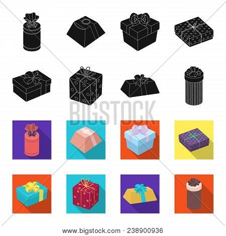Gift Box With Bow, Gift Bag.gifts And Certificates Set Collection Icons In Black, Flet Style Vector