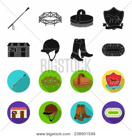 Boots, Grass, Stadium, Track, Rest .hippodrome And Horse Set Collection Icons In Black, Flet Style V