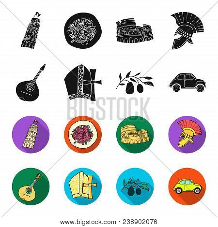 Mandolin, Papa, Olive, Retro Auto.italy Country Set Collection Icons In Black, Flet Style Vector Sym