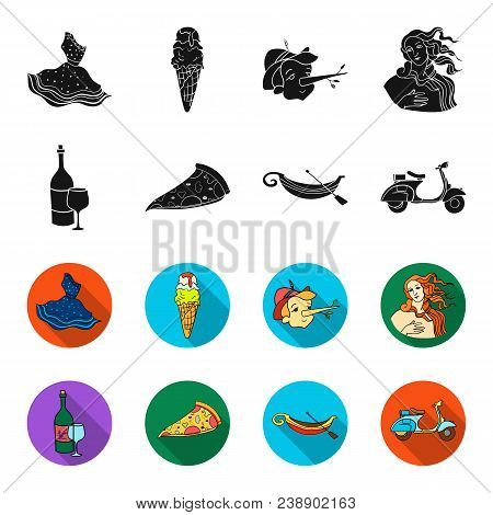 A Bottle Of Wine, A Piece Of Pizza, A Gundola, A Scooter. Italy Set Collection Icons In Black, Flet