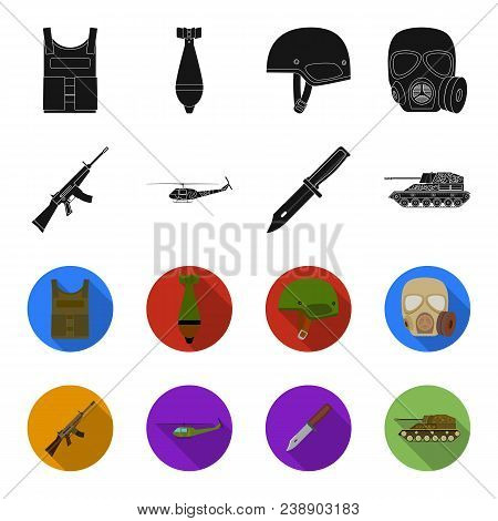 Assault Rifle M16, Helicopter, Tank, Combat Knife. Military And Army Set Collection Icons In Black,