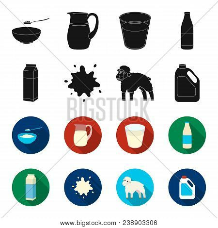 Billet Pack, Sheep.blue, Canister.moloko Set Collection Icons In Black, Flet Style Vector Symbol Sto