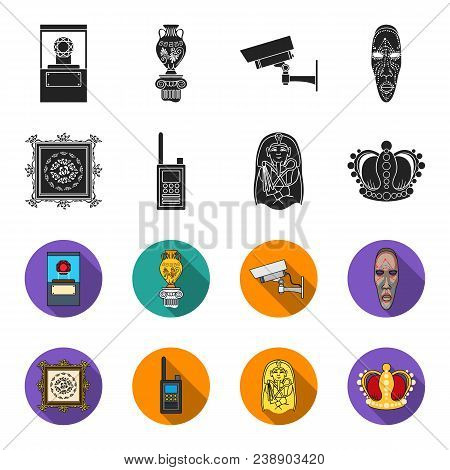 Picture, Sarcophagus Of The Pharaoh, Walkie-talkie, Crown. Museum Set Collection Icons In Black, Fle