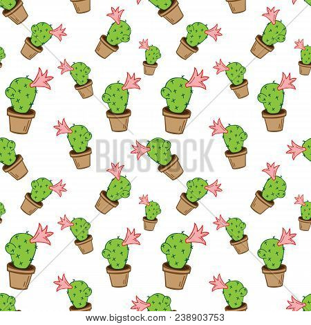 Home Green Cactus In Brown Pot In Doodle Style, Flat Cartoon Colors, Seamless Pattern Isolated On Wh