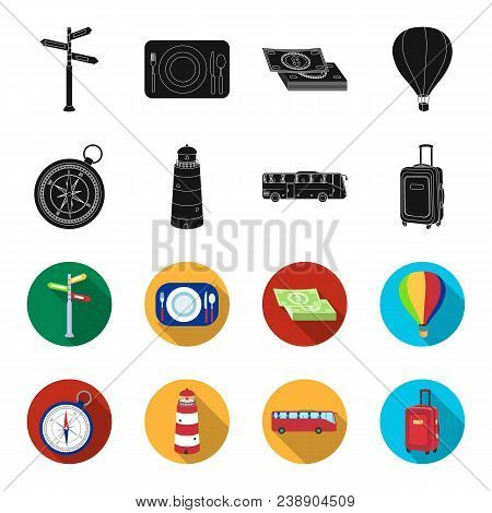 Vacation, Travel, Lighthouse, Compass .rest And Travel Set Collection Icons In Black, Flet Style Vec