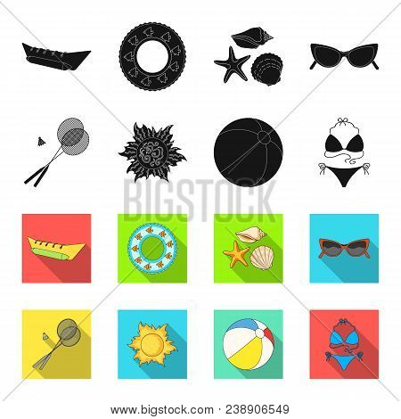 A Game Of Badminton, A Ball And The Sun.summer Vacation Set Collection Icons In Black, Flet Style Ve