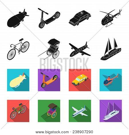 Bicycle, Rickshaw, Plane, Yacht.transport Set Collection Icons In Black, Flet Style Vector Symbol St
