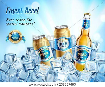 Finest Beer Composition With Premium Light Beer Symbols Vector Illustration
