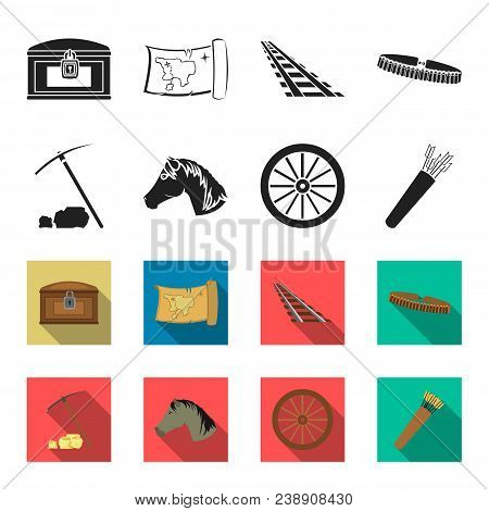 Pickax Hoe, Horse Head, Wheel Cart, Quiver With Arrows.wild West Set Collection Icons In Black, Flet