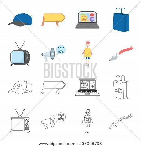 Tv, Megaphone, A Man With A Poster, An Airplane With A Banner.advertising, Set Collection Icons In C