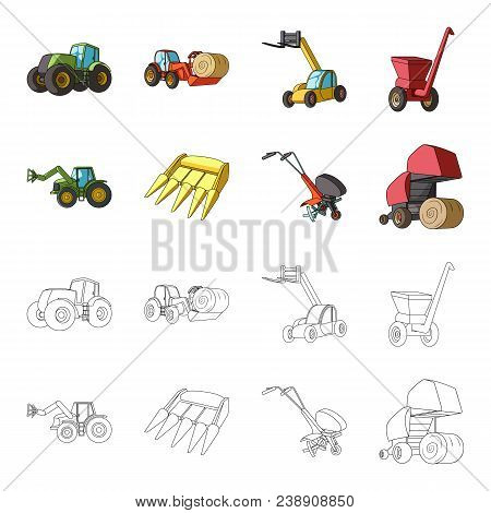 Motoblock And Other Agricultural Devices. Agricultural Machinery Set Collection Icons In Cartoon, Ou