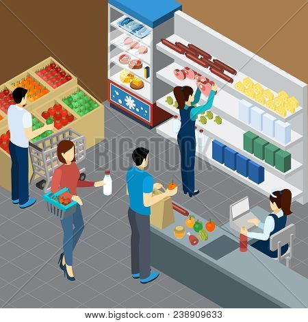 Grocery store isometric composition with visitors cashier and shelves with groceries products vector illustration poster