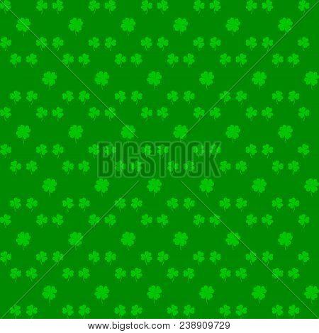 Irish Holiday. Saint Patricks Day. Leaves Clover. Seamless Vector Illustration. Irish Shamrock. St.