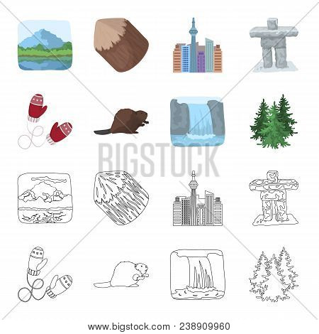 Canadian Fir, Beaver And Other Symbols Of Canada.canada Set Collection Icons In Cartoon, Outline Sty