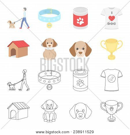 Dog House, Protective Collar, Dog Muzzle, Cup. Dog Set Collection Icons In Cartoon, Outline Style Ve