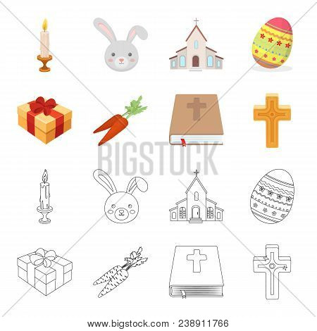 Cross, Bible, Gift And Carrots.easter Set Collection Icons In Cartoon, Outline Style Vector Symbol S