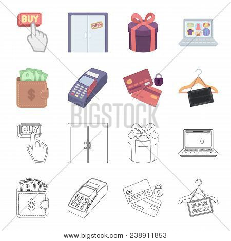 Purse, Money, Touch, Hanger And Other Equipment. E Commerce Set Collection Icons In Cartoon, Outline