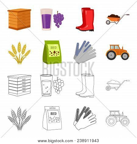 Spikelets Of Wheat, A Packet Of Seeds, A Tractor, Gloves.farm Set Collection Icons In Cartoon, Outli