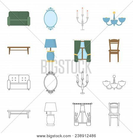 A Coffee Table, A Lamp, Curtains, A Chair.furniture Set Collection Icons In Cartoon, Outline Style V