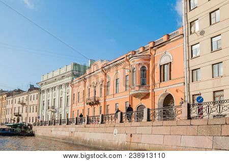 St Petersburg, Russia-october 3, 2016. Historic Buldings Along The Moika River Embankment In St Pete