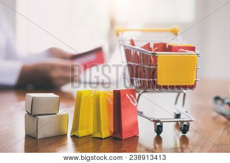 Business Online Shopping And Delivery Concept.
