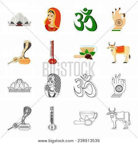 Country India Cartoon, Outline Icons In Set Collection For Design.india And Landmark Vector Symbol S