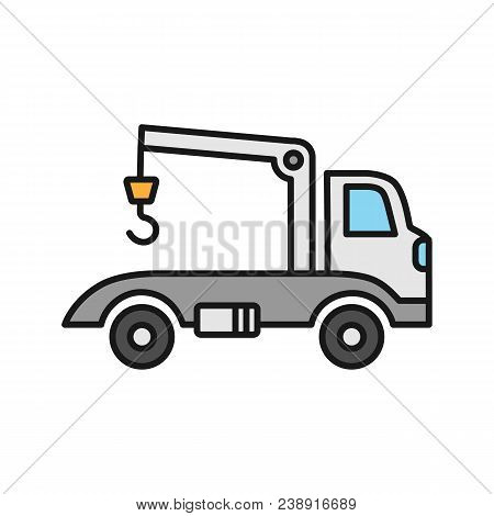 Tow Truck Color Icon. Evacuator. Car Wrecker. Isolated Vector Illustration