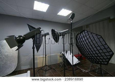 Photographic Lighting Equipment In The Interior Studio