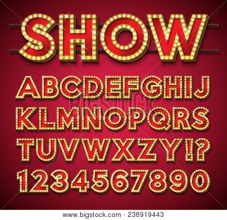 Light Bulb Alphabet With Gold Frame And Shadow On Red Backgrond. Glowing Retro Vector Font Collectio