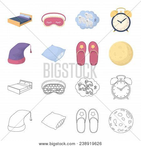 Night Cap, Pillow, Slippers, Moon. Rest And Sleep Set Collection Icons In Cartoon, Outline Style Vec