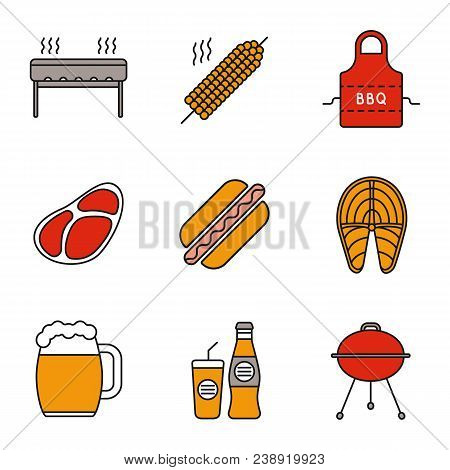 Barbecue Color Icons Set. Bbq. Grills, Corn On Skewer, Apron, Steak, Hot Dog, Fish, Beer Mug, Soda.