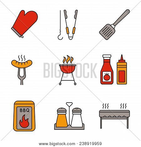 Barbecue Color Icons Set. Bbq. Oven Mitt, Skewer And Tongs, Spatula, Grilled Sausage, Grill, Ketchup