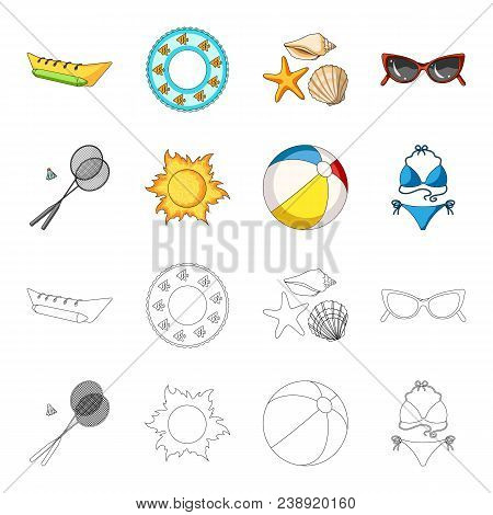 A Game Of Badminton, A Ball And The Sun.summer Vacation Set Collection Icons In Cartoon, Outline Sty