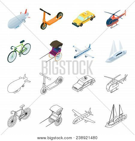 Bicycle, Rickshaw, Plane, Yacht.transport Set Collection Icons In Cartoon, Outline Style Vector Symb