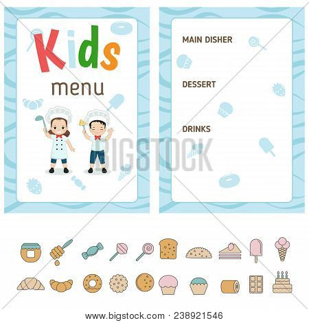 Kids Menu Card With Cute Cartoon Girl And Boy. Cute Colorful Kids Meal Restaurant Menu Vector Templa
