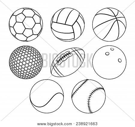 Vector Set Of Outlines Different Sport Balls Isolated On A White Background. Minimal Flat Line Icons