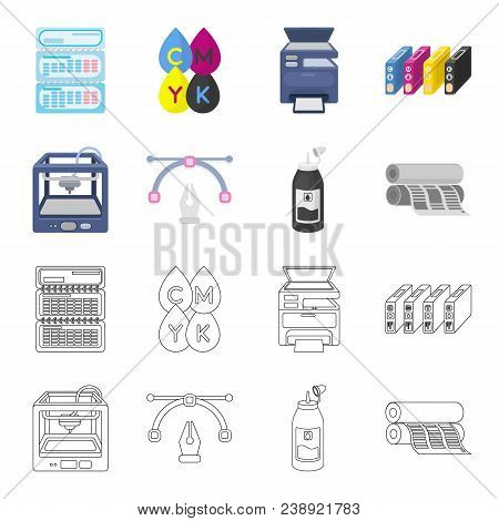 3d Printer, Newspaper Printer, Ink, Pen. Typography Set Collection Icons In Cartoon, Outline Style V