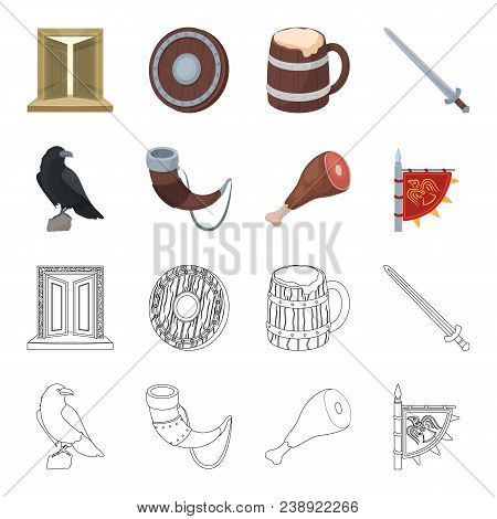 Sitting Crow, Horn With Drink, Ham, Victory Flag. Vikings Set Collection Icons In Cartoon, Outline S